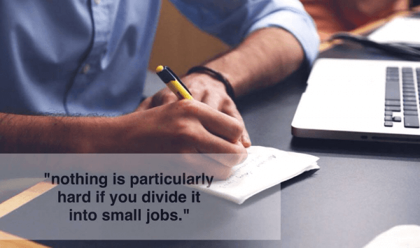 Nothing is particularly hard if you divide it into small jobs
